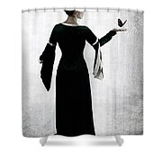 Woman With Butterfly Shower Curtain by Joana Kruse
