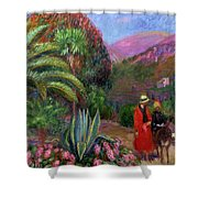 Woman With Child On A Donkey Shower Curtain