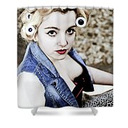 Woman With Curlers Shower Curtain