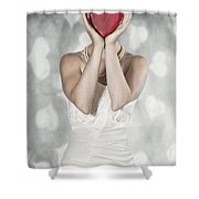 Woman With Heart Shower Curtain