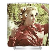 Woman With Rain Coat And Curlers Shower Curtain by Joana Kruse