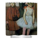 Woman With Two Little Girls Shower Curtain