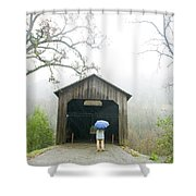 Woman With Umbrella In Front Of Covered Shower Curtain