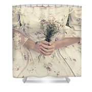Woman With Wild Flowers Shower Curtain by Joana Kruse