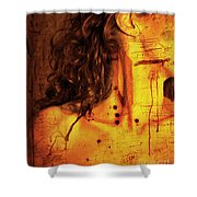 Woman With Words And Numbers Shower Curtain