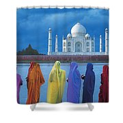 Women In Colorful Saris In Front Of The Shower Curtain