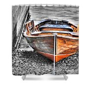 Wood Boat Shower Curtain