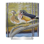 Wood Duck Pair At The Lake Shower Curtain