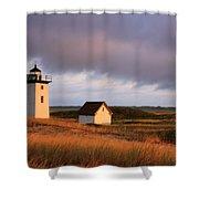 Wood End Lighthouse Landscape Shower Curtain