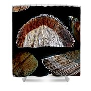 Wood. Piled Up Logs. Shower Curtain