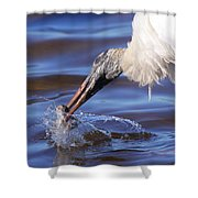 Wood Stork Fishing Shower Curtain