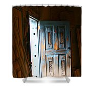 Wood Workers Door In Truchas New Mexico Shower Curtain
