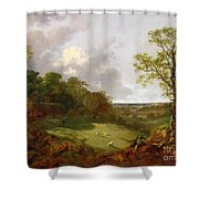 Wooded Landscape With A Cottage - Sheep And A Reclining Shepherd Shower Curtain