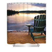 Wooden Chair At Sunset On Beach Shower Curtain
