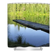 Wooden Dock On Lake Shower Curtain