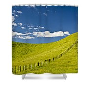 Wooden Fence Posts Running Through A Shower Curtain