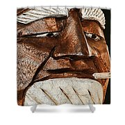 Wooden Head With Cigarette Shower Curtain