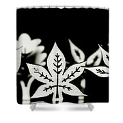 Wooden Leaf Shapes In Black And White Shower Curtain