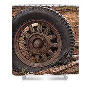 Wooden Spoked Tire Shower Curtain