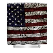 Wooden Textured Usa Flag2 Shower Curtain