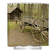 Wooden Wagon Shower Curtain