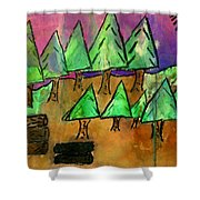 Woods Cut Logs And A Sunset Shower Curtain