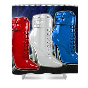 World Domination In Red White And Blue Boots Shower Curtain