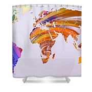 World Map Abstract Painted Shower Curtain