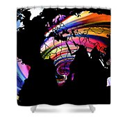 World Map Abstract Painting 2 Shower Curtain