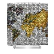 World Map Coin Mosaic Shower Curtain