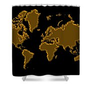 World Map Gold Shower Curtain
