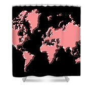 World Map Pink Shower Curtain