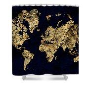 World Map Rock Shower Curtain