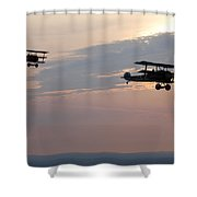 World War I Triplanes In Flight Shower Curtain