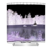 Worlds Smallest Chapel Church Negative Inverted Image Shower Curtain