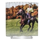 Wrangler And Horse Shower Curtain by Susan Candelario
