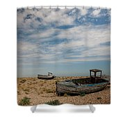 Wrecked Boats Dungeness Shower Curtain