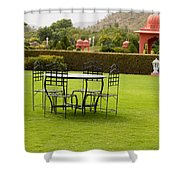 Wrought Metal Chairs Around A Table In A Lawn Shower Curtain