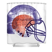 X-ray Of Head In Football Helmet Shower Curtain