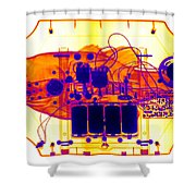 X-ray Of Mechanical Fish Shower Curtain