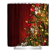 Xmas Tree On Red Shower Curtain by Carlos Caetano