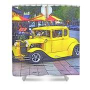 Yellow 1930's Ford Roadster Shower Curtain