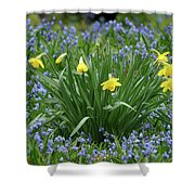 Yellow And Blue Flowers Shower Curtain
