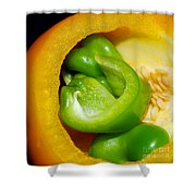 Yellow And Green Nested Pepper Shower Curtain
