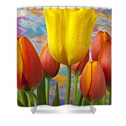Yellow And Orange Tulips Shower Curtain