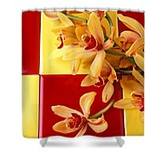 Yellow And Red Orchids  Shower Curtain
