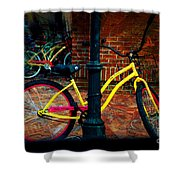 Yellow Bike Shower Curtain