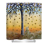 Yellow-blossomed Wishing Tree Shower Curtain