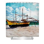 Yellow Boat Docking On The Shore Shower Curtain