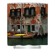 Yellow Boat Venice Italy Shower Curtain